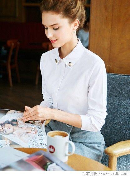 清新白衬衫,知性风吹不停